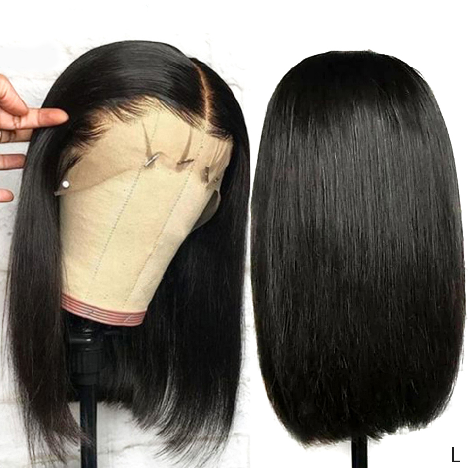 Short Human Hair Wigs For Black Women Remy Hair 13x4 Lace Front Wigs Pre Plucked Hairline Blunt Cut Bob Wig Real Human Hair 150%