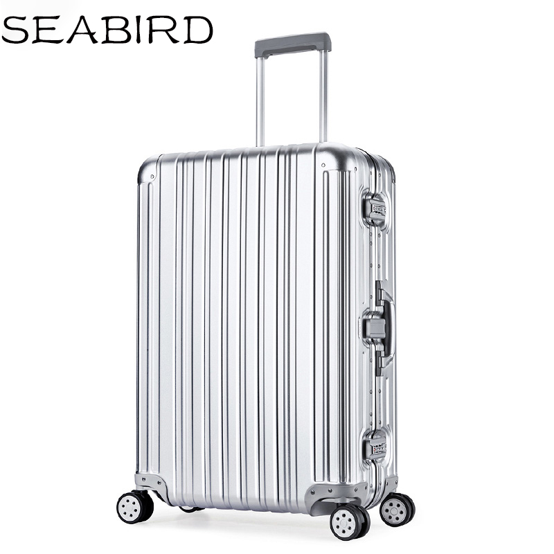 SEABIRD Luxury Aluminum Magnesium Alloy Travel Trolley Luggage Men Full Metal Case Business Suitcase On Wheels Women Brand Rose