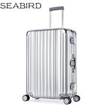 цена на SEABIRD Luxury Aluminum Magnesium Alloy Travel Trolley Luggage Men Full Metal Case Business Suitcase On Wheels Women Brand Rose