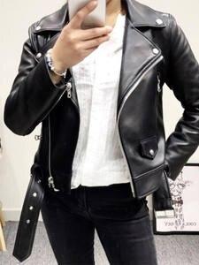 Ailegogo Jacket Coat Turn-Down-Collar Faux-Leather Women Black Casual New Zipper Pu Slim-Belt