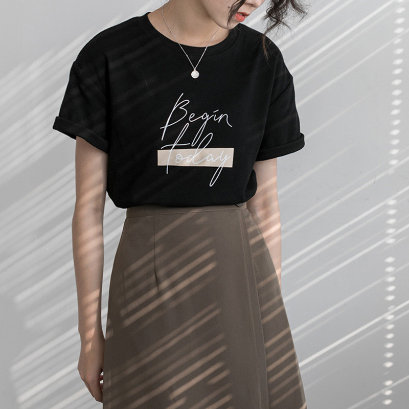 H775bed3251e2493298efd8f95423257bi - Letter Women T-Shirt O Neck Short Sleeve Loose Casual Pure Cotton Girls Spring Thick Pullovers Femme Fashion Clothings