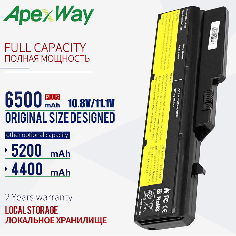ApexWay 11.1v Laptop Battery For Lenovo L09M6Y02 L10M6F21 L09L6Y02 L09S6Y02 G570 G575 G770 Z460 G460 G465 G470 G475 G560 G565-in Laptop Batteries from Computer & Office on