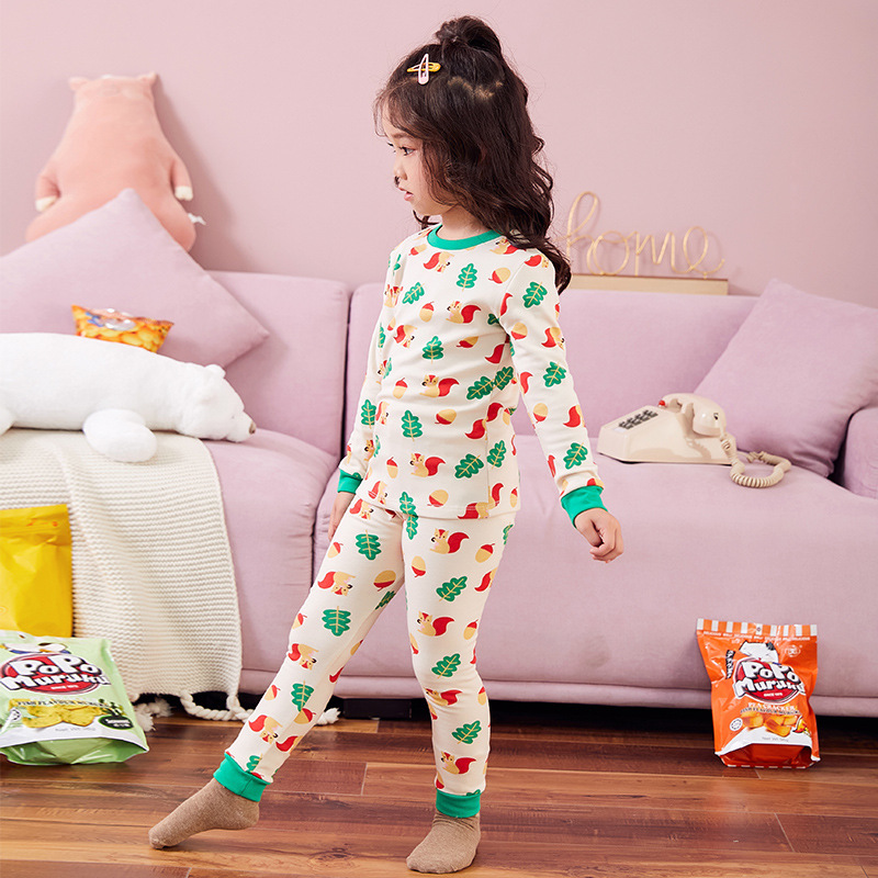 South Korea Spring And Autumn Men And Women Children Winter Pajamas Tracksuit GIRL'S Underwear Pack Pure Cotton Children Warm Th