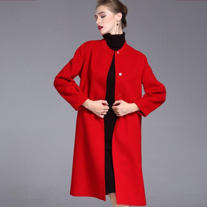 Lange wollen blends kasjmier jassen voor vrouwen 2019 herfst winter dames jassen plus size overjas dubbelzijdig rood mode - 2