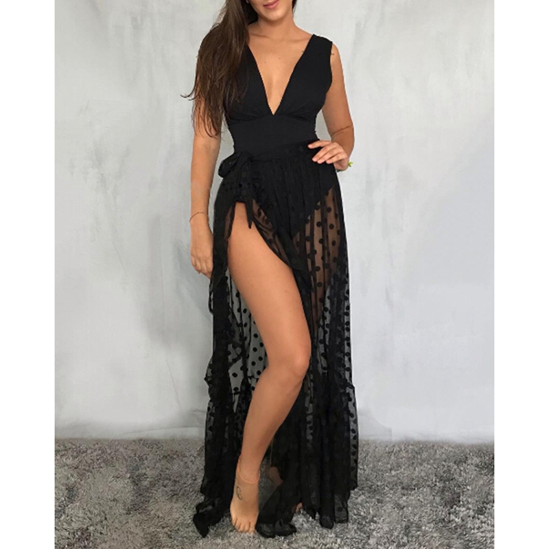 Sexy Women Mesh Sheer Beach Holiday Ruffled Sunscreen Bikini Cover Up Wrap Belted Bow Knot Tied Long Skirt Summer Holiday