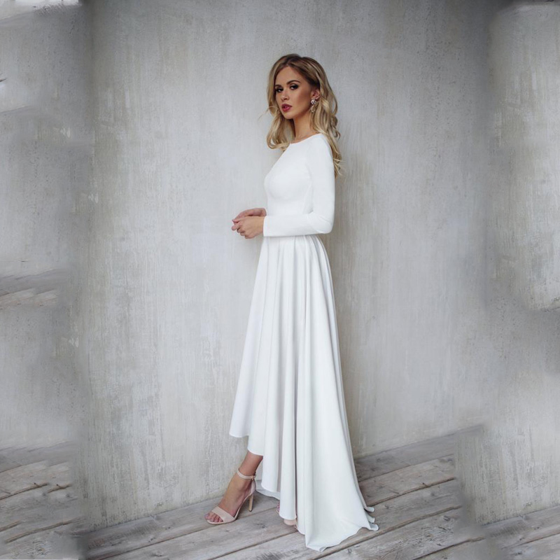2019 Bohemian Wedding Dress Long Sleeves High Low Bridal Gowns Backless Elegant Vestido De Noiva Lorie Wedding Gowns For Women