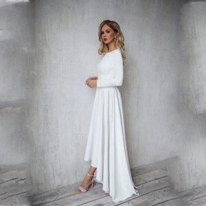 Image 1 - 2019 Bohemian Wedding Dress Long Sleeves High Low Bridal Gowns Backless Elegant Vestido De Noiva Lorie Wedding Gowns For Women