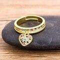 2020 neue Mode 6 Arten Herz Geformt Ringe Für Frauen Gold Farbe Verstellbaren Ring Beste Party Hochzeit Jahrestag Schmuck Geschenk