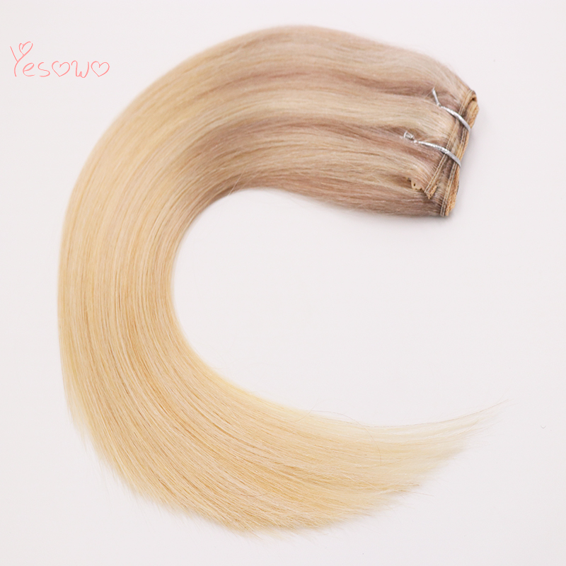 Invisible Fish Wire Flip In Hair Extensions Highlight Ombre Two Tone Halo Brazilian Remy Human Hair Weft For White Women