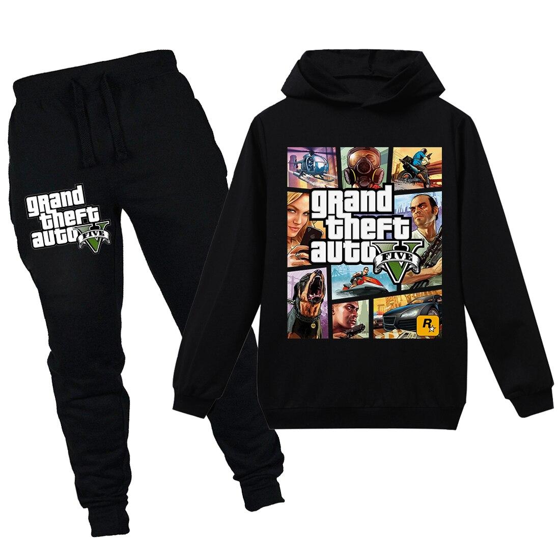 Hot Cartoon Game Grand Theft Auto V Gta 5 Baby Kids Hoodies Sets Boy Clothes T-shirt Hooded Little Girl Clothing Boys Shirt 2020