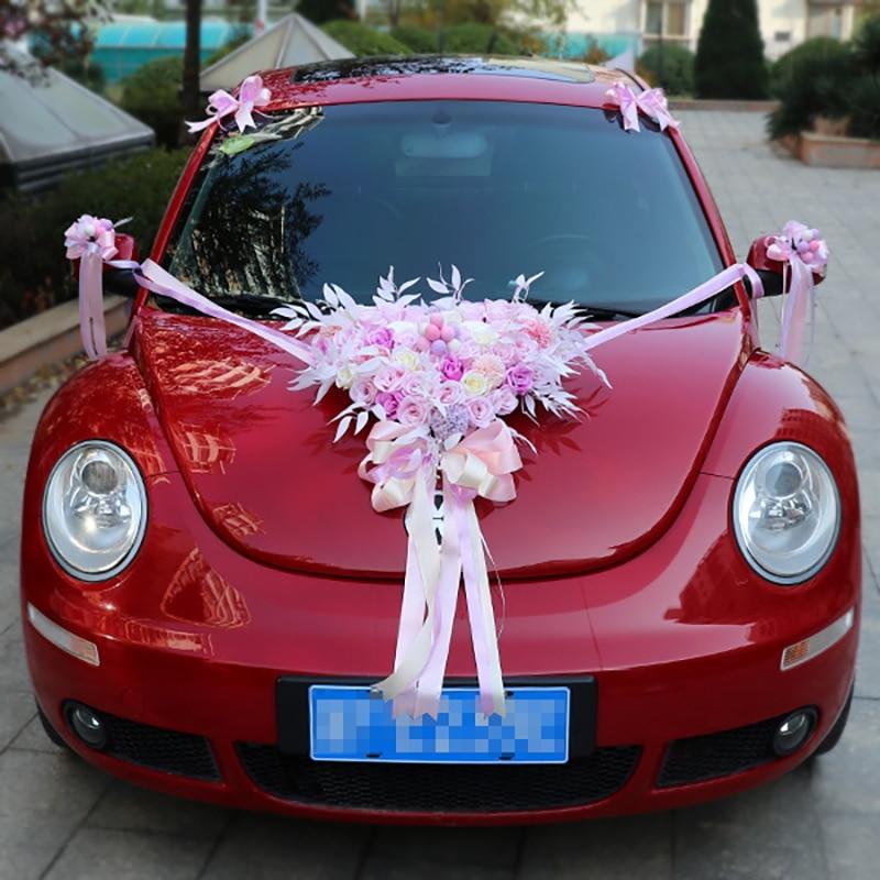 Wedding Artificial Flowers with Flamingo Led Light Car Decoration DIY Silk Flower Valentine's Day Set Wedding Wreath Party Decor - 3