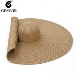 GEMVIE женская соломенная шляпа, большие размеры, широкие поля, летняя шляпа от солнца, упакованная большая бумага, пляжная шляпа, 2020 Новая мода