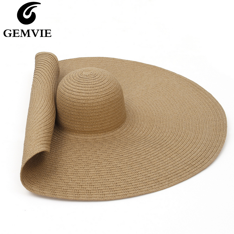 GEMVIE Oversized Straw Hat For Women Wide Brim Summer Sun Hat Packable Large Paper Beach Hat 2020 New Fashion