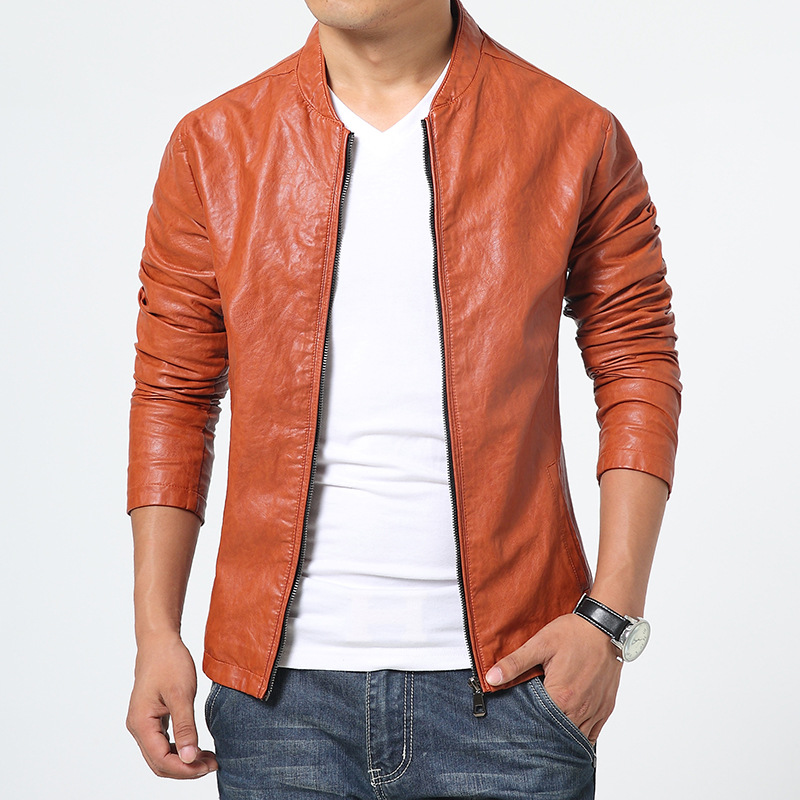 Men's PU Leather Jacket 2015 Autumn New Style Men Top Grade Business Cool Slim Fit Leather Jacket Coat