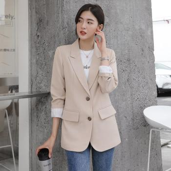 Peonfly New 2021 Autumn Fashion Blazer Jacket Women Casual Korean Pockets Long Sleeve Coat Office Ladies Solid Loose Blazer 1