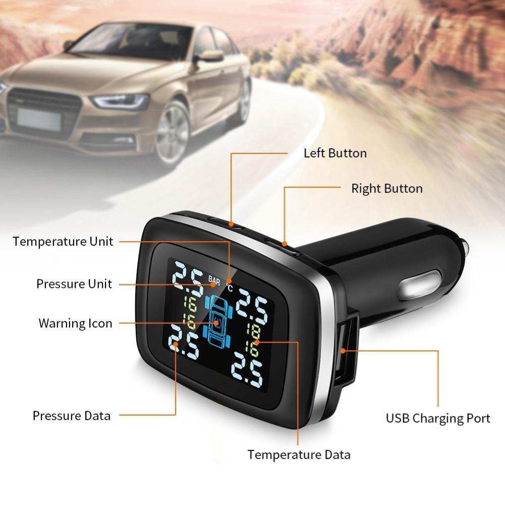 Vehicle tire pressure detector Digital display TPMS LCD Wireless Car Tire Pressure Monitoring System with External Sensor Kit