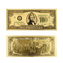 Hot Sale Colorful Gold Banknote Rare 1928 Year #8217 s USA 2 Dollar Replica Money Bills Plated Colour Gold Business Gift Collection cheap AIBOULLY Metal PET with gold plated home collectible office art gift american each packed with plastic case and opp bag