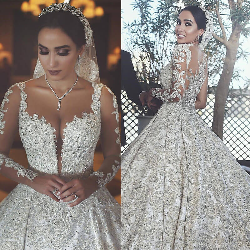 Luxury Beaded Muslim Wedding Dress Sexy Illusion Back Long Sleeve Ball Gown Bride Dress Scoop Neck Vestido De Novia