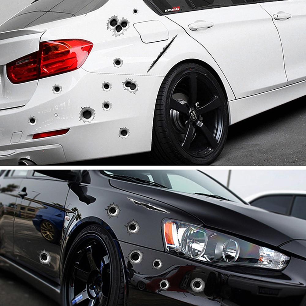 NS Modify 1 Pcs Car Styling 3D Decals Emblem Symbol Creative Personalized Stickers Fake Bullet Hole Gun Shots Funny Car Helmet(China)