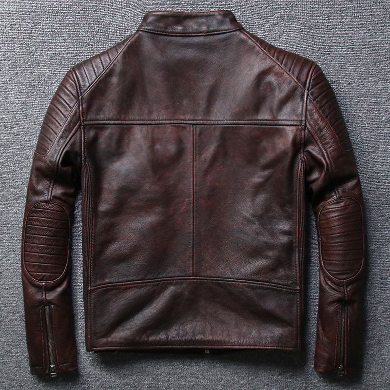 Cowhide Motorcycle Genuine Leather Jacket Men Short Leather Coats Man Real Cow Leather Jackets Moto Overcoat 1806 KJ1449