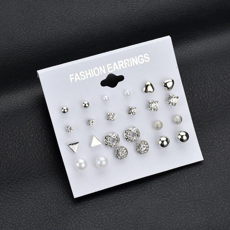 Kymyad 17 Style Stud Earrings Sets For Women Bijoux Crystal Imitation Pearl Earrings Jewelry Set Cute Part Jewelry Womens Gift in Stud Earrings from Jewelry Accessories
