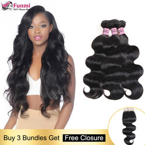 Hair-Weave Bundles Closure Body-Wave with Human-Hair Non-Remy Peruvian