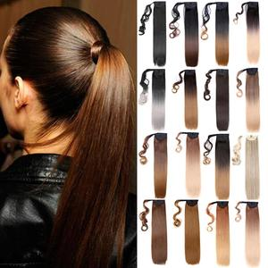 Mtmei Hair Long Straight Clip in Ponytail Hair Extensions Wrap Around Synthetic Ponytail Fake Hair For Women Pony Tail Blonde