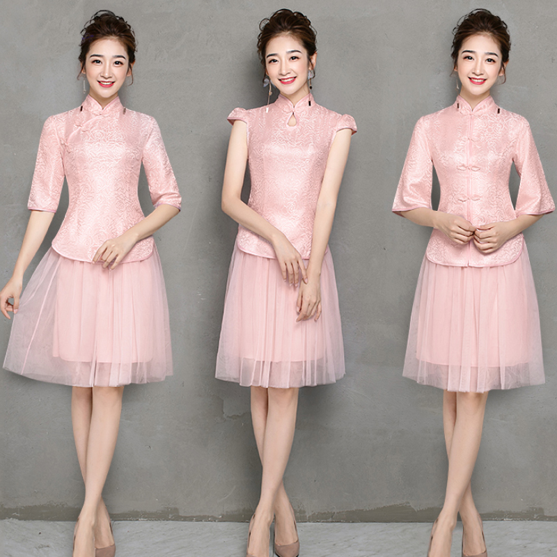 2pcs Embroidery Half Sleeve Pink Bridesmaid Dresses Vestido Mujer Elegant Dress Women For Guest Wedding Party Cheongsam Vintage