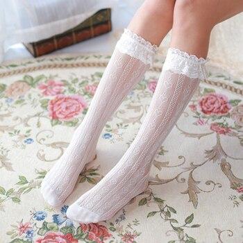 Cute Lace Heart High Knee Socks Long Leg Women Lolita Transparent Stockings Pantyhose Girls Dress Calcetines mujer Elastic