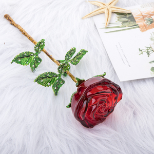 Image 4 - H&D Crystal Red Rose Flower Figurines Craft Birthday Valentines Day Favors Xmas Gifts Wedding Home Table Decoration Ornament