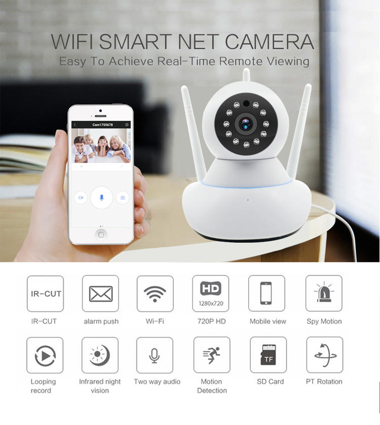 JPT 720P 1080P HD Indoor Wireless Wifi Home Security Surveillance IP Camera with IR Night Vision Network Internet Camera image