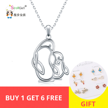 Strollgirl Authentic 925 sterling silver Penguin Mom and kid Necklace Cute Fashion Jewelry Pendant Best Gift For Mother