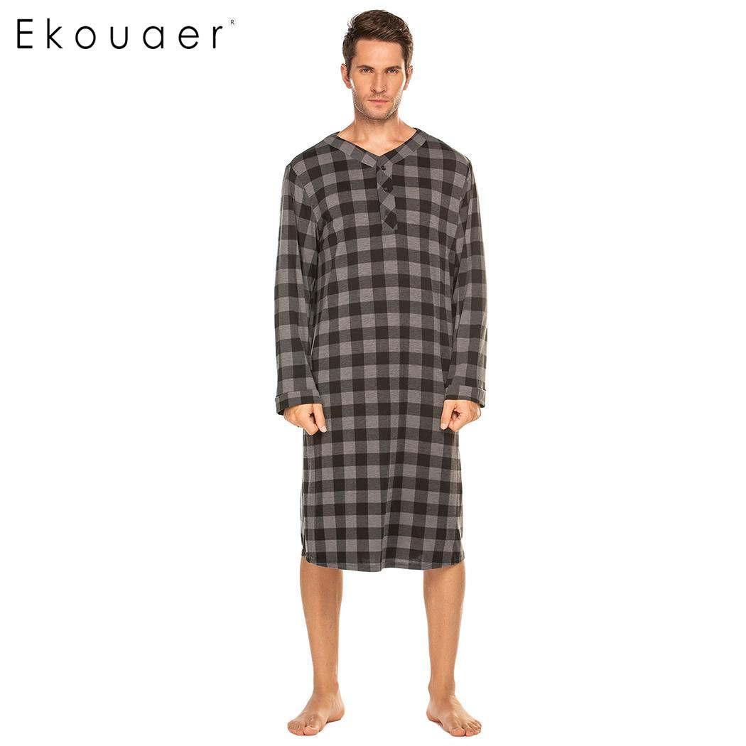 Ekouaer Men's Sleepshirts Autumn Sleepwear Long Sleeve Lightweight Sleep Shirt Long Nightshirt Male Homewear Clothes