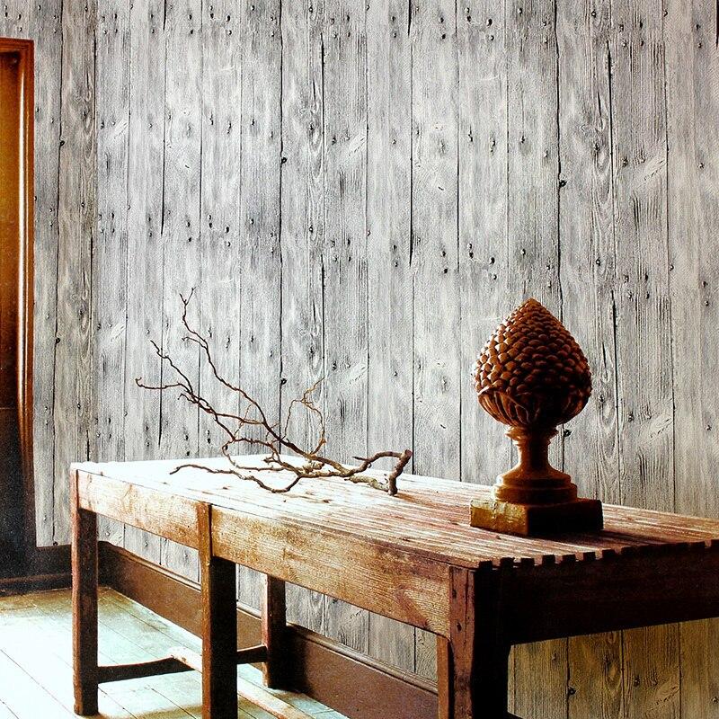 Papier peint en bois De Parede Papel papier peint Style chinois Vintage planches De bois papier peint rayures rouleau papier peint en vinyle pour murs