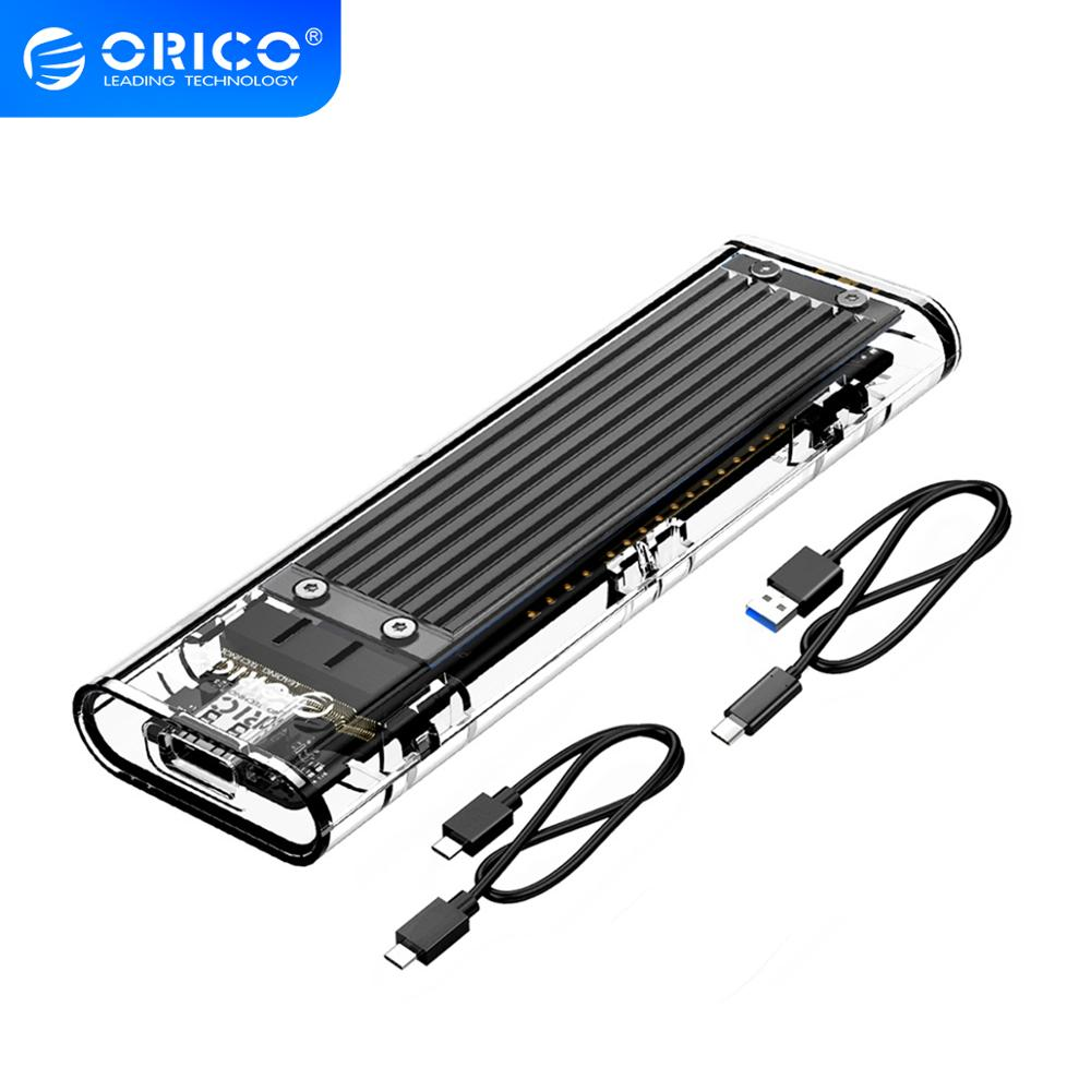 ORICO M 2 SSD Case for NVME PCIE NGFF SATA M B Key SSD Disk NVME SSD Enclosure M 2 to USB C Transparent Hard Drive Box 10Gbps