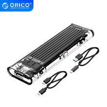 ORICO M.2 SSD vaka NVME PCIE NGFF SATA M/B anahtar SSD Disk NVME SSD muhafaza M.2 to USB C şeffaf sabit disk kutusu 10Gbps