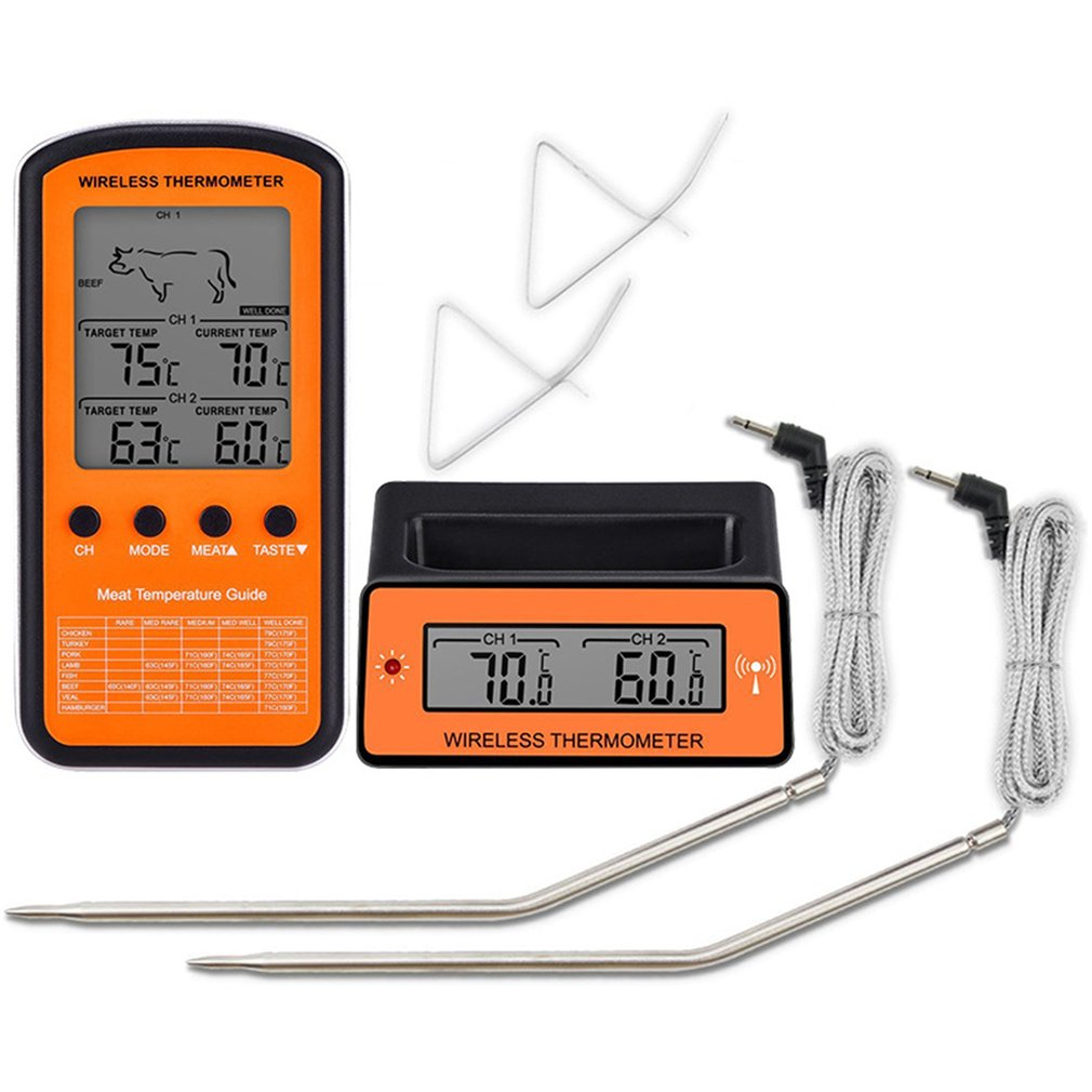 Dual Probe Digital Wireless Oven Thermometer For Meat Water Food Barbecue Cooking Kitchen Timer Temperature Alarm