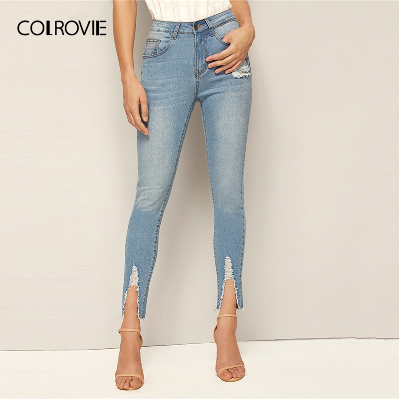 COLROVIE Blue Frayed Edge Faded Skinny Jeans Women 2019 Fall Streetwear Button Fly Ripped Jeans Female Solid Casual Denim Pants