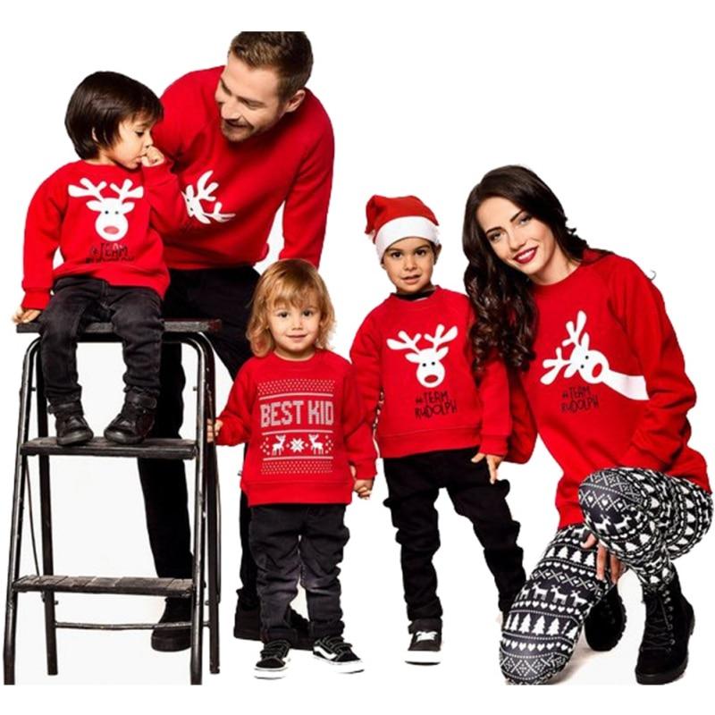 Pull de noël doux en coton | Vêtements assortis pour parents et enfants, avec rayures, imprimé, pull imprimé, ensemble Parent-enfant, 2 couleurs