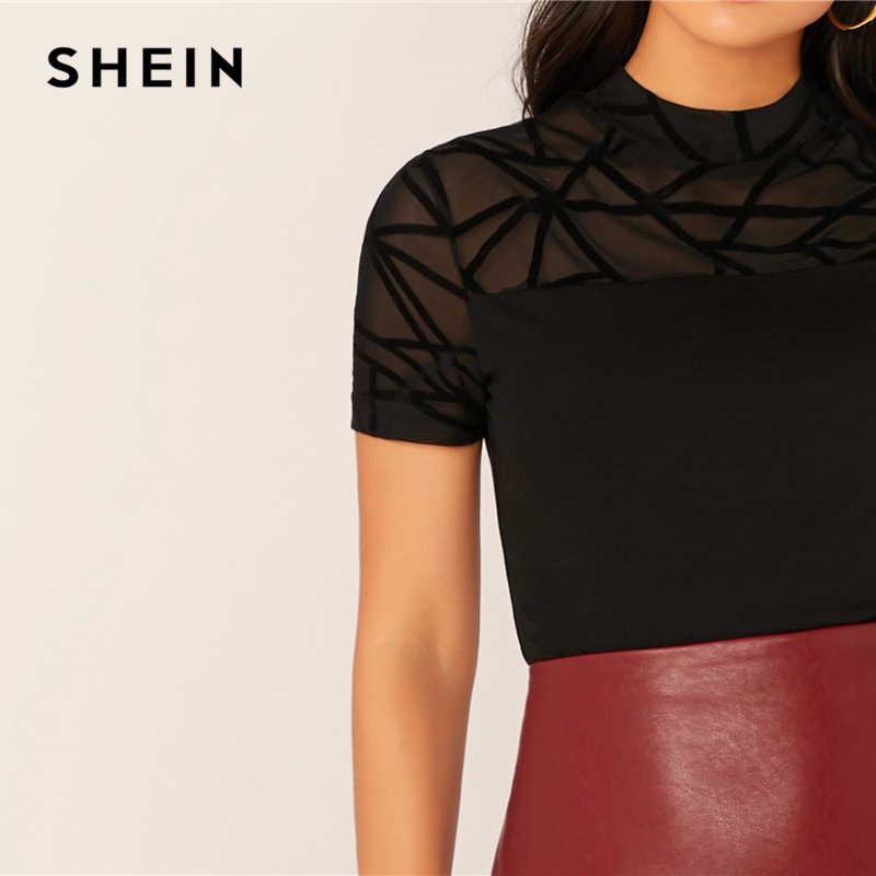 SHEIN czarna siatka jarzmo wykończenia formularza wyposażone Top Sheer T-shirt kobiety jesień damskie z krótkim rękawem elegancki stojak kołnierz Slim Tshirt topy