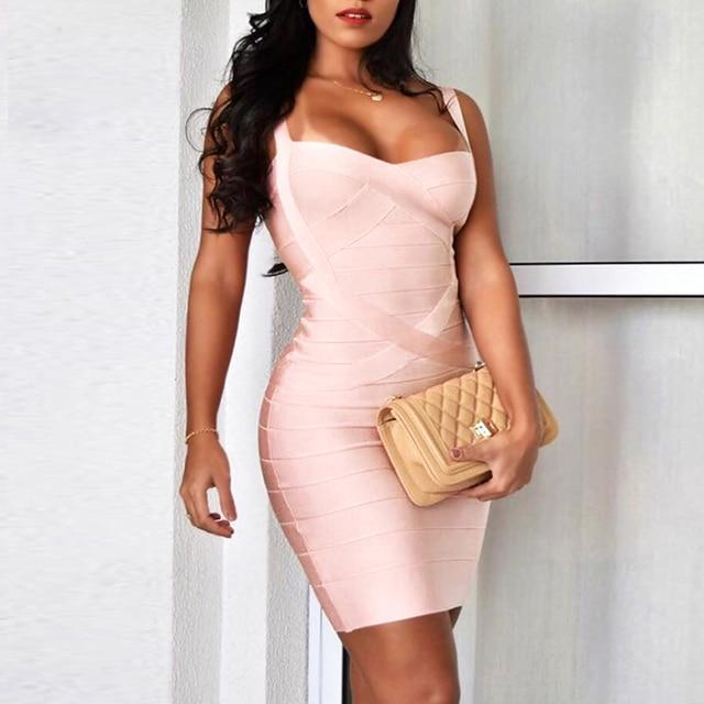 2021 New Women Sexy Spaghetti Strap Rayon HL Elastic Celebrity Bandage Dress Bodycon Mini Club Evening Party Dresses Drop Ship 3