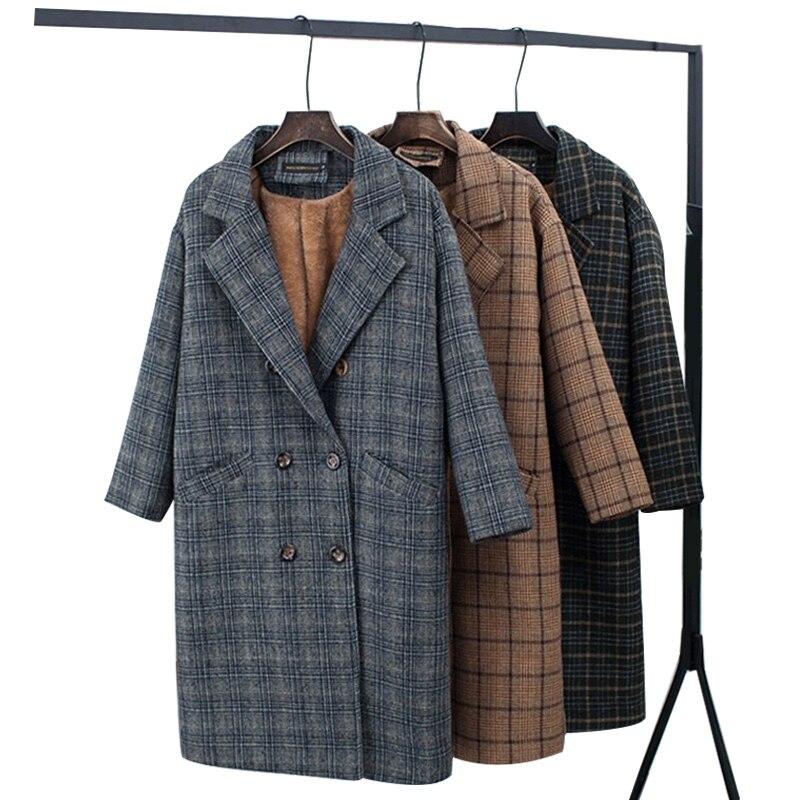 Winter Check Velvet Coat Female Notched Warm Checkered Woolen Women's Coats Fleece Office Lady 2019 Vintage Long Overcoat Woman