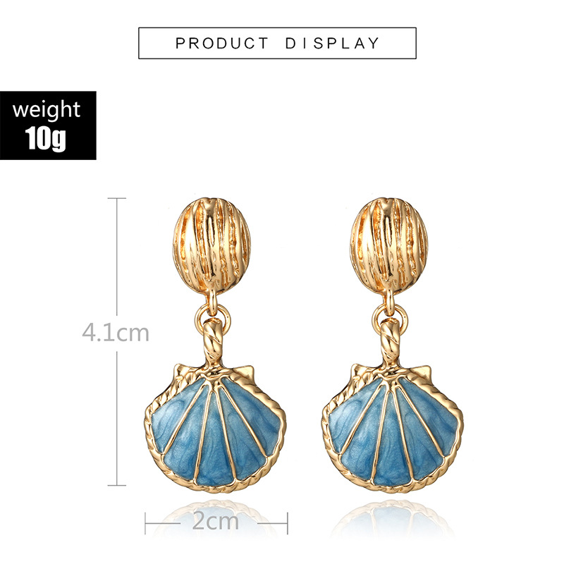 Metal Shell Drop Earrings Women Fashion Jewelry Gold Silver Color Beach Statement Boho Earrings For Women Jewelry Wholesale in Drop Earrings from Jewelry Accessories