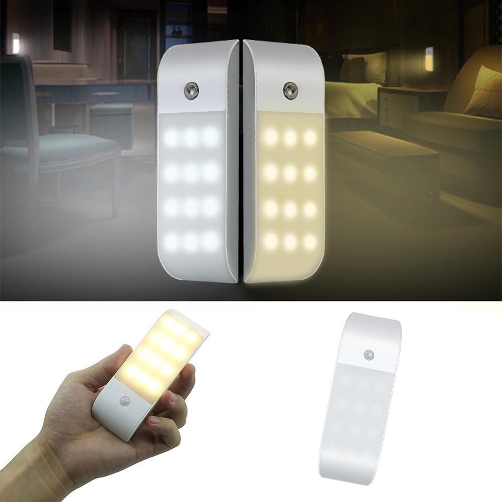Rechargeable USB 12 LED PIR Motion Sensor Induction Night Light Cabinet Lamp