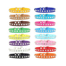 New Dog Collar Crystal Hot Bling Rhinestone Pu Leather Necklace Puppy Cat Collars Necklace Neck Strap Personality Pet Product(China)