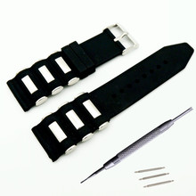 Soft Silicone Rubber And Stainless Steel Watch Band 22mm 24mm 26mm Strap Waterproof Watchband + Tool
