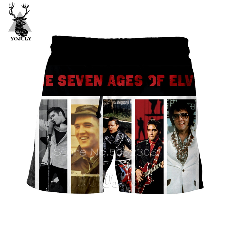 Elvis Shorts Men Bermuda Masculina 3D Harajuku Shorts Men Short Summer Sweatpants Street Hip Hop Camouflage Sik Silk Short Pants