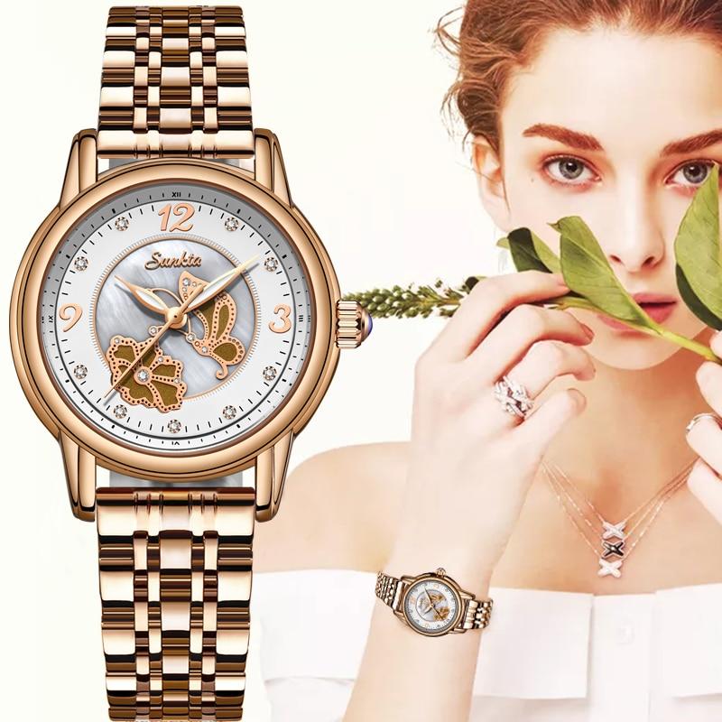 Women Watches Women Fashion Watch 2020 SUNKTA Ladies Watch Luxury Brand Diamond Quartz Gold Wrist Watch Gifts For Women+Box
