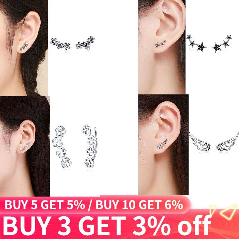 925 Sterling Silver Korean Feather Rose Flower Star Plane Cuff Stud Earrings For Women Fashion Women Earrings 2019 Brincos S925