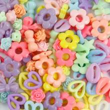 30g doce cor borboleta flor acrílico contas para fazer jóias diy encantos brinco pulseira colar artesanato acessórios
